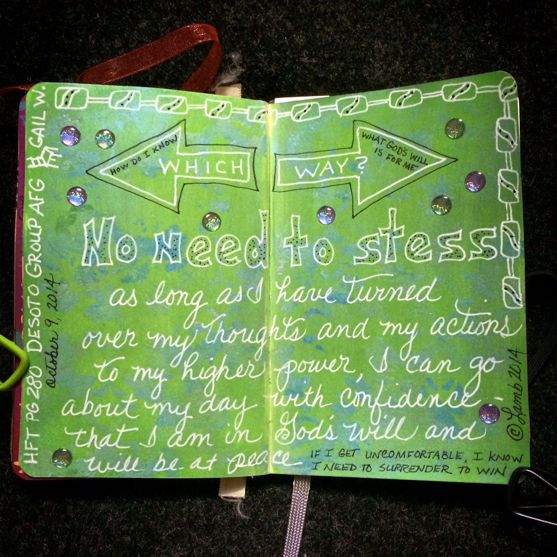 Don't freak out over the fork in the road if you've turned over your will and your life to God. #surrendertowin #ArtJournaling #ArtJournal #MyArtJournal #moleskine #mixedmedia #meetingtopics #TheresaLamb ©Theresa Lamb 2014