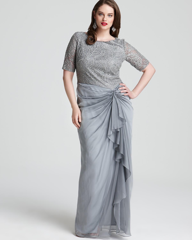 Tadashi Shoji Plus Beaded Top Gown