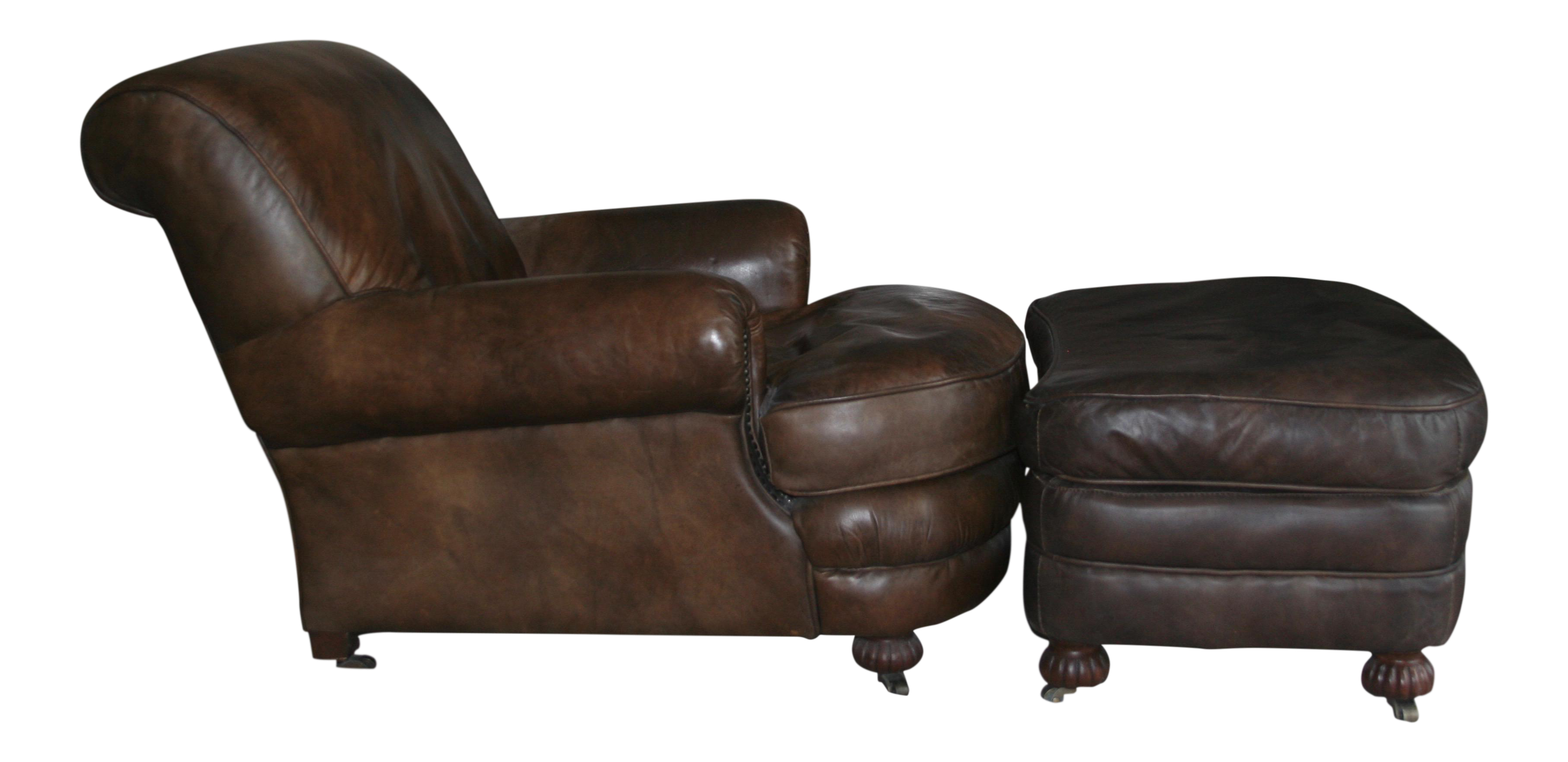 Restoration Hardware Leather Chairs Restoration Hardware Leather Writer S Chair Ottoman A Pair