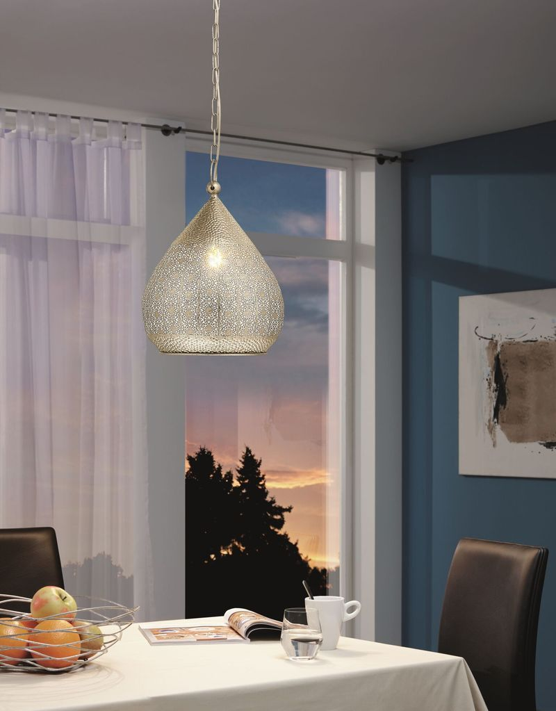 Melilla Pendant Light Moroccan Style in Gold or Silver Steel