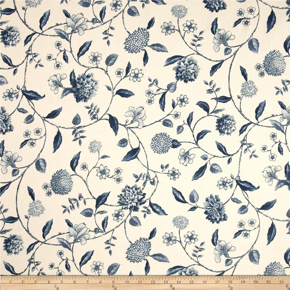 Waverly Nassau Vine Toile Porcelain from @fabricdotcom  Screen printed on cotton duck; this versatile medium weight fabric is perfect for window accents (draperies, valances, curtains and swags), accent pillows, duvet covers and upholstery. Create handbags, tote bags, aprons and more. Colors include shades of blue on ivory.