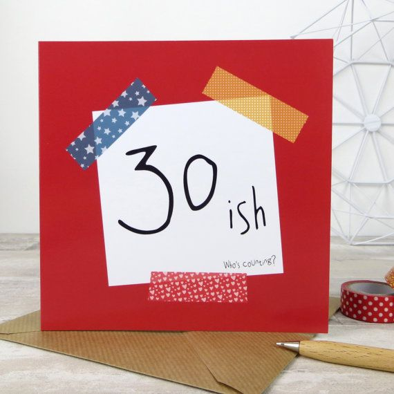 Funny birthday card 30 ish whos counting 30th birthday funny birthday card ish whos counting bookmarktalkfo Images