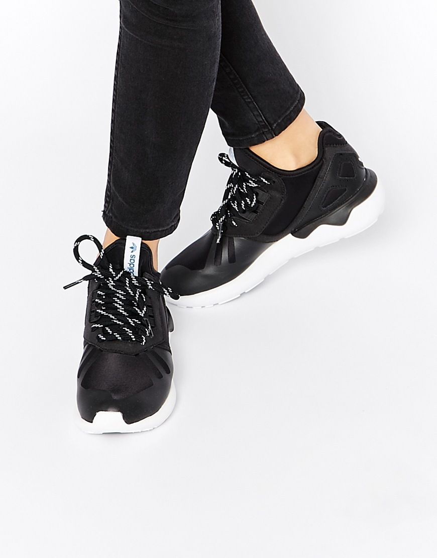 Image 1 of adidas Originals Black & White Tubular Leather Sneakers