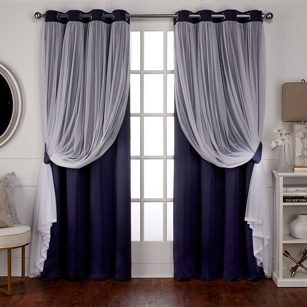 Caterina Layered Solid Blackout With Sheer Top Curtain Panels Navy