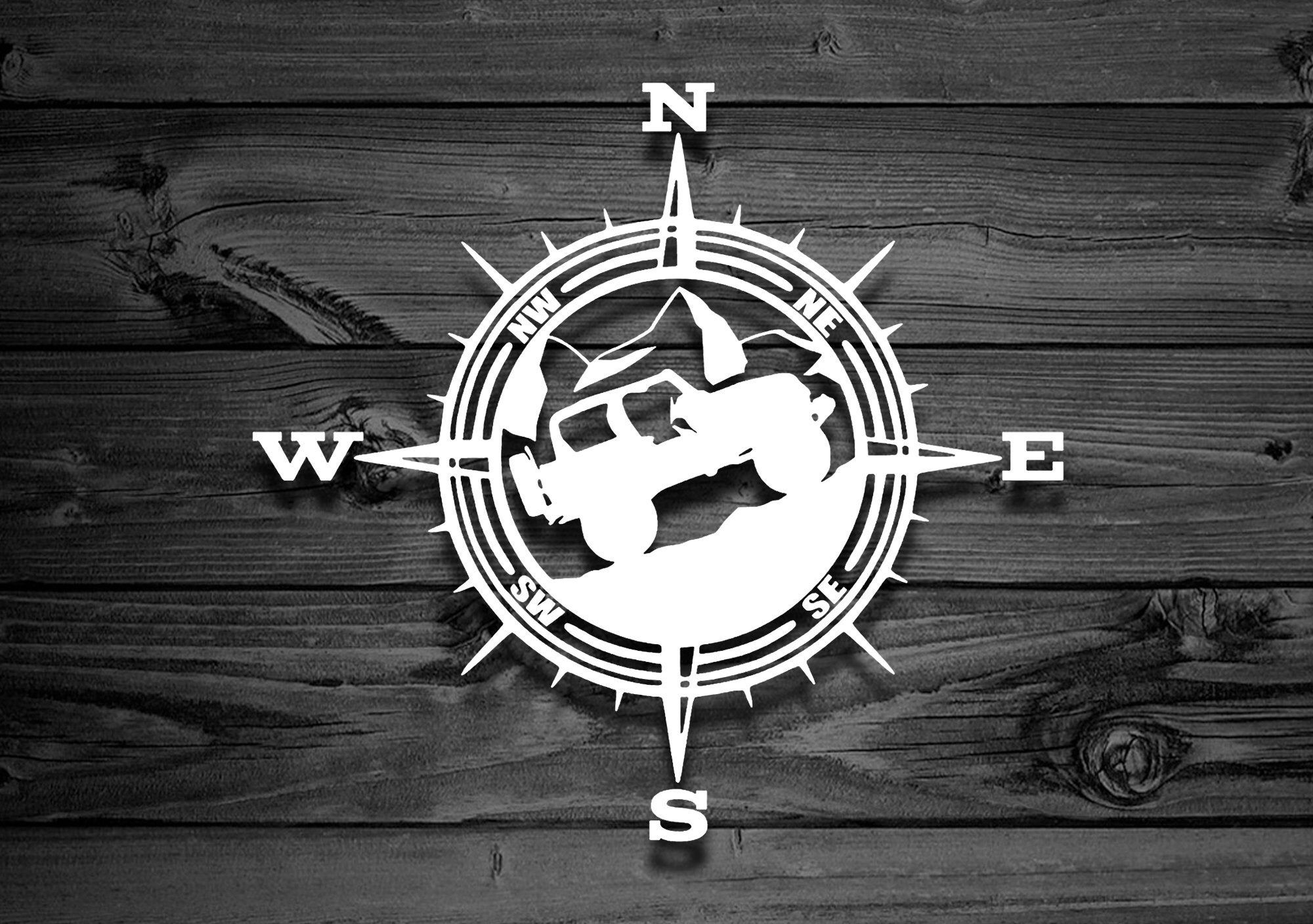Mountain Vinyl Decal For Wranglers, Car Decal, Compass