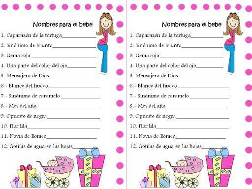 Juegos Para Baby Shower Para Imprimir Con Respuestas Imagui Juegos