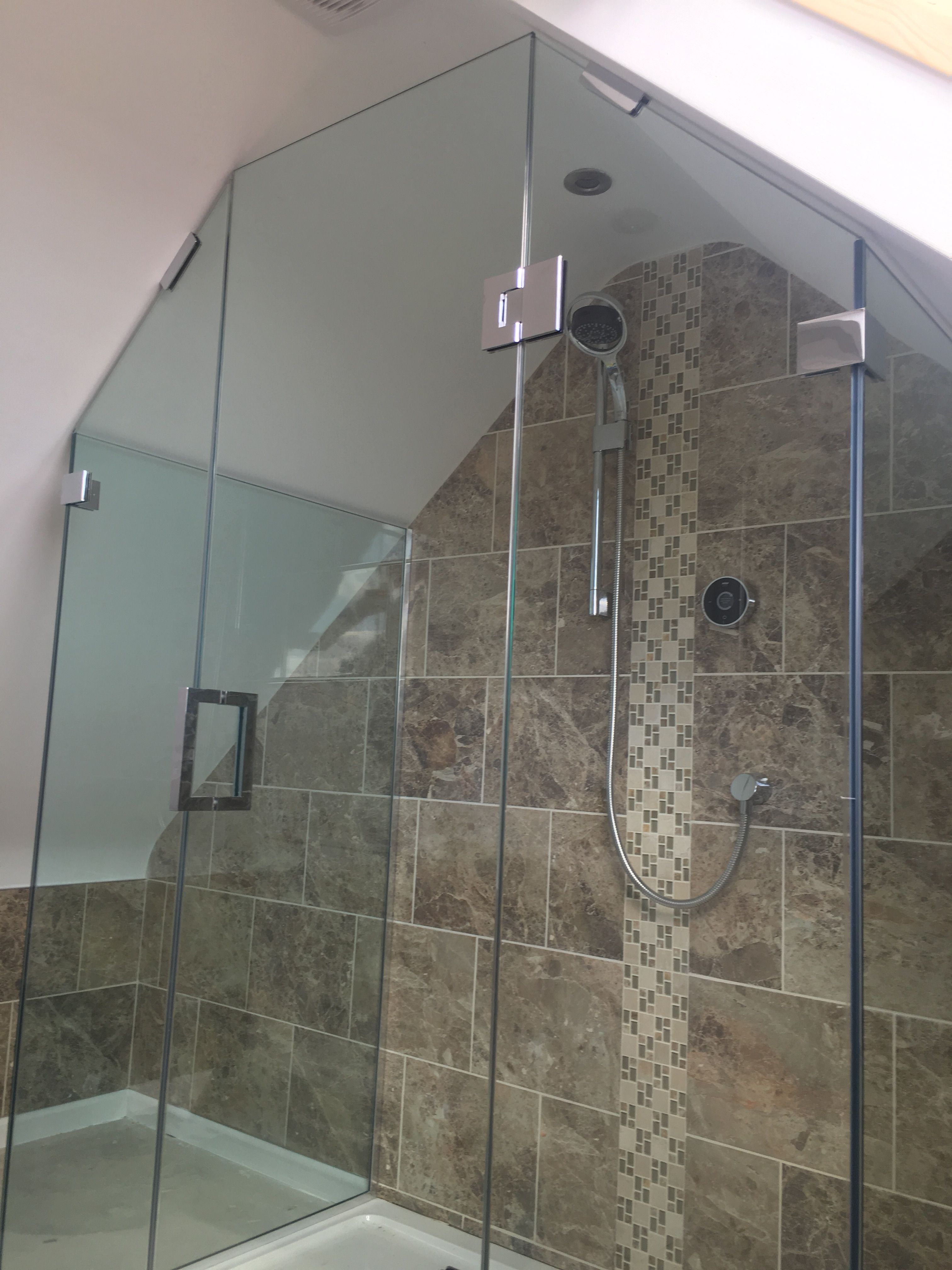 Frameless 3 Sided Shower Enclosure In Gable Roof Loft