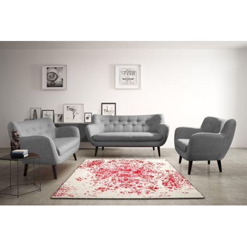 Modern Sofa Canapé Adele 2 sawana 21 gris avec pieds noir sofa divan