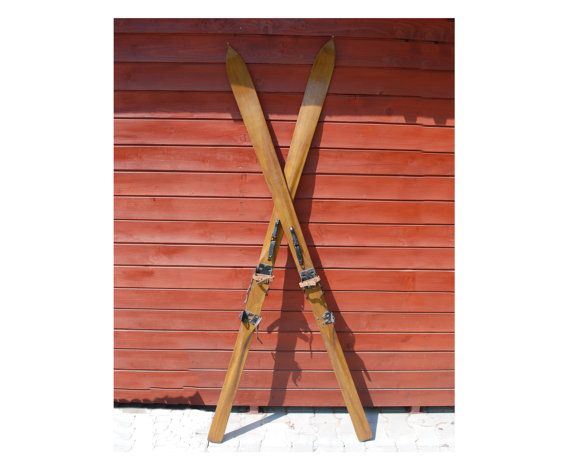 Antique Skis Wooden Skis Complete Set Decoration Wooden Retro Skis