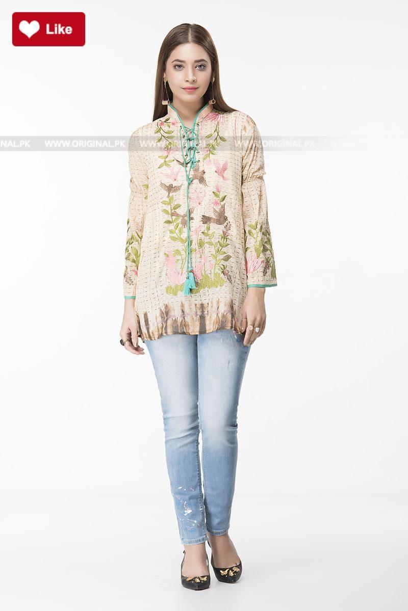 3b2e14b61ce1c Ethnic Bird Embroidered Fusion Top EWPFS17065-MTP Pret 2017 - Original  Online Shopping Store