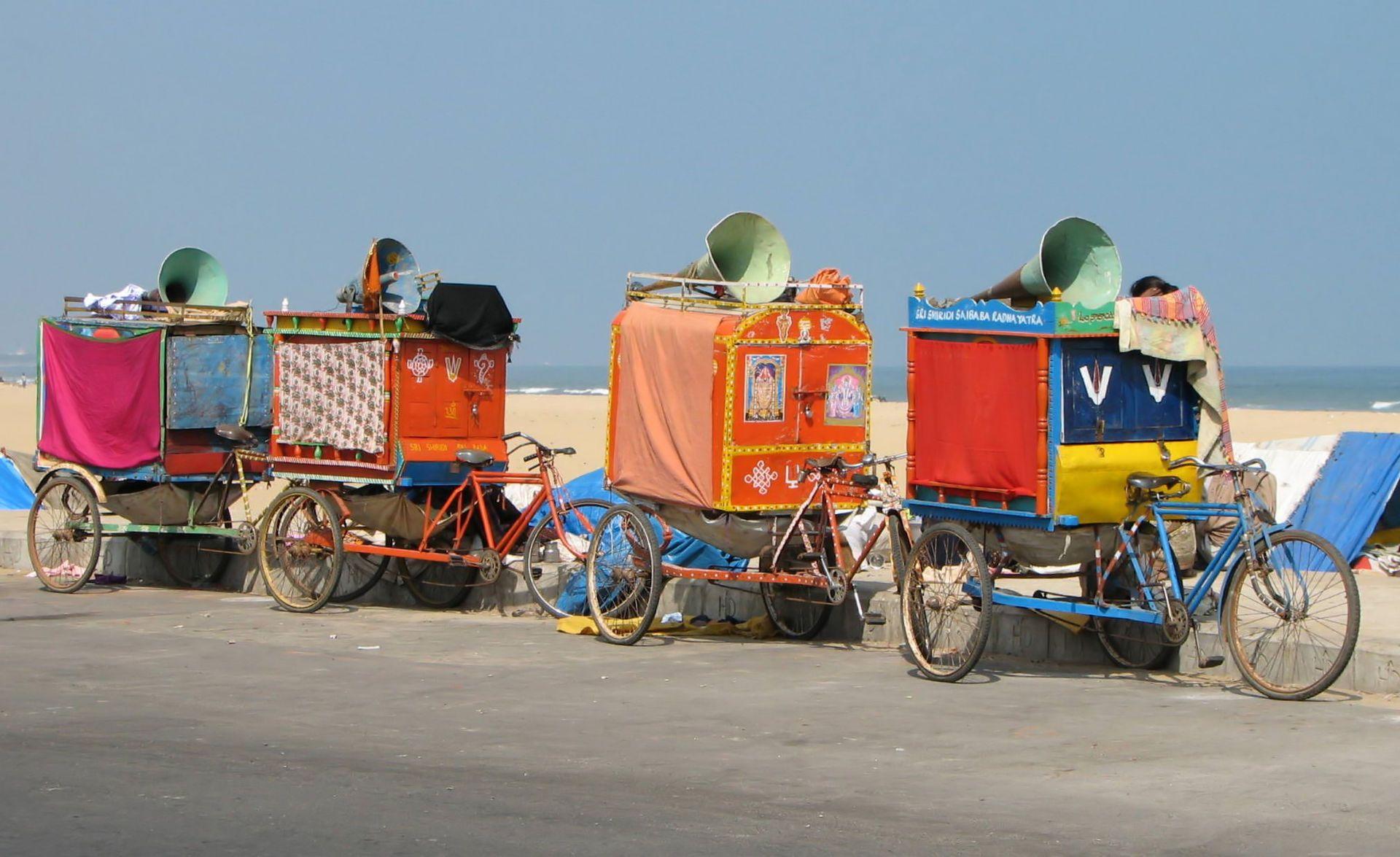Cycle rickshaws used by a street theatre company, Chennai