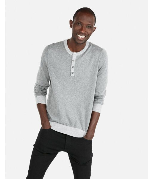 Express Mens Tipped Henley Sweater Gray Men\u0027s S Gray S