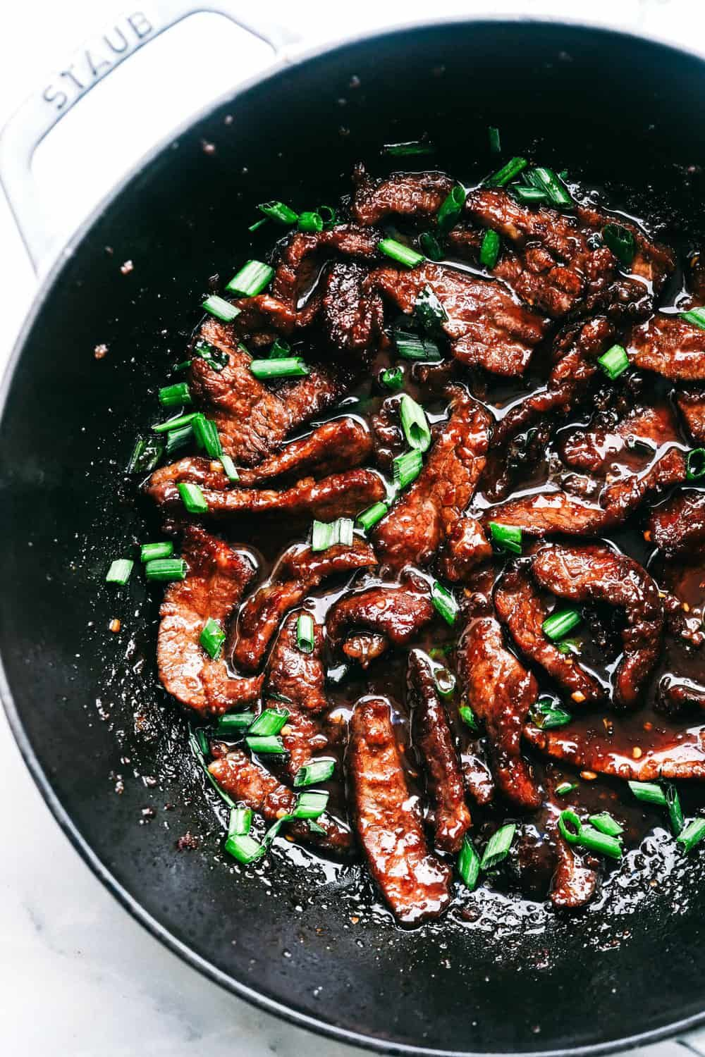 Super Easy Mongolian Beef (schmeckt wie P.F. Changs #recipesforflanksteak