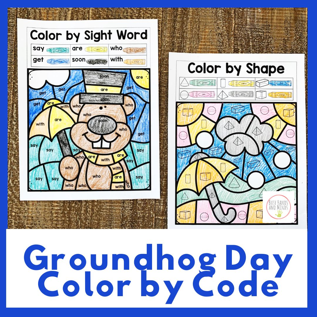 Groundhog Day Color By Code Kindergarten