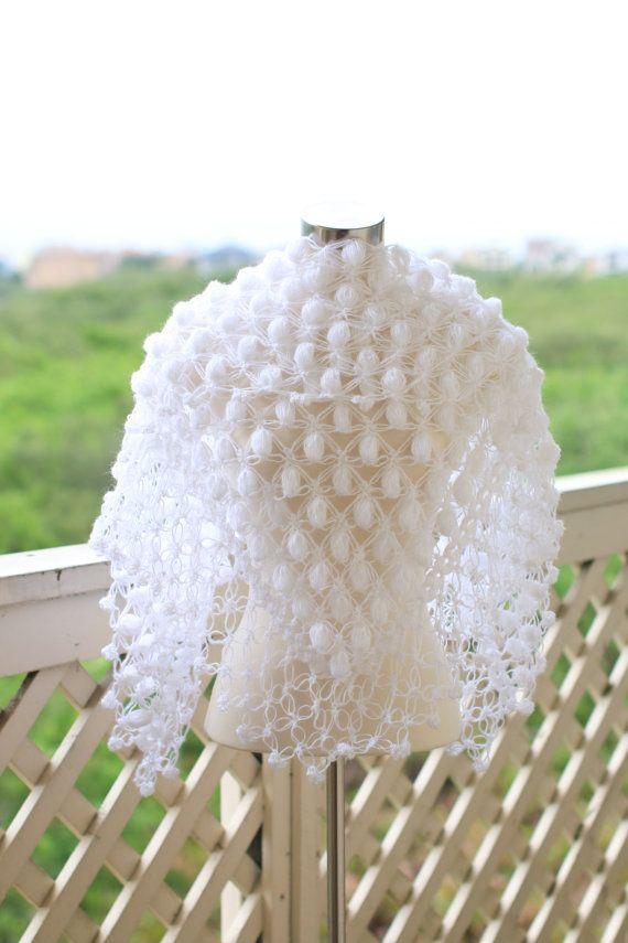 Crochet+ShawlWedding+Shawl+White+Shawl+Wedding+Cape+por+MODAcrochet ...