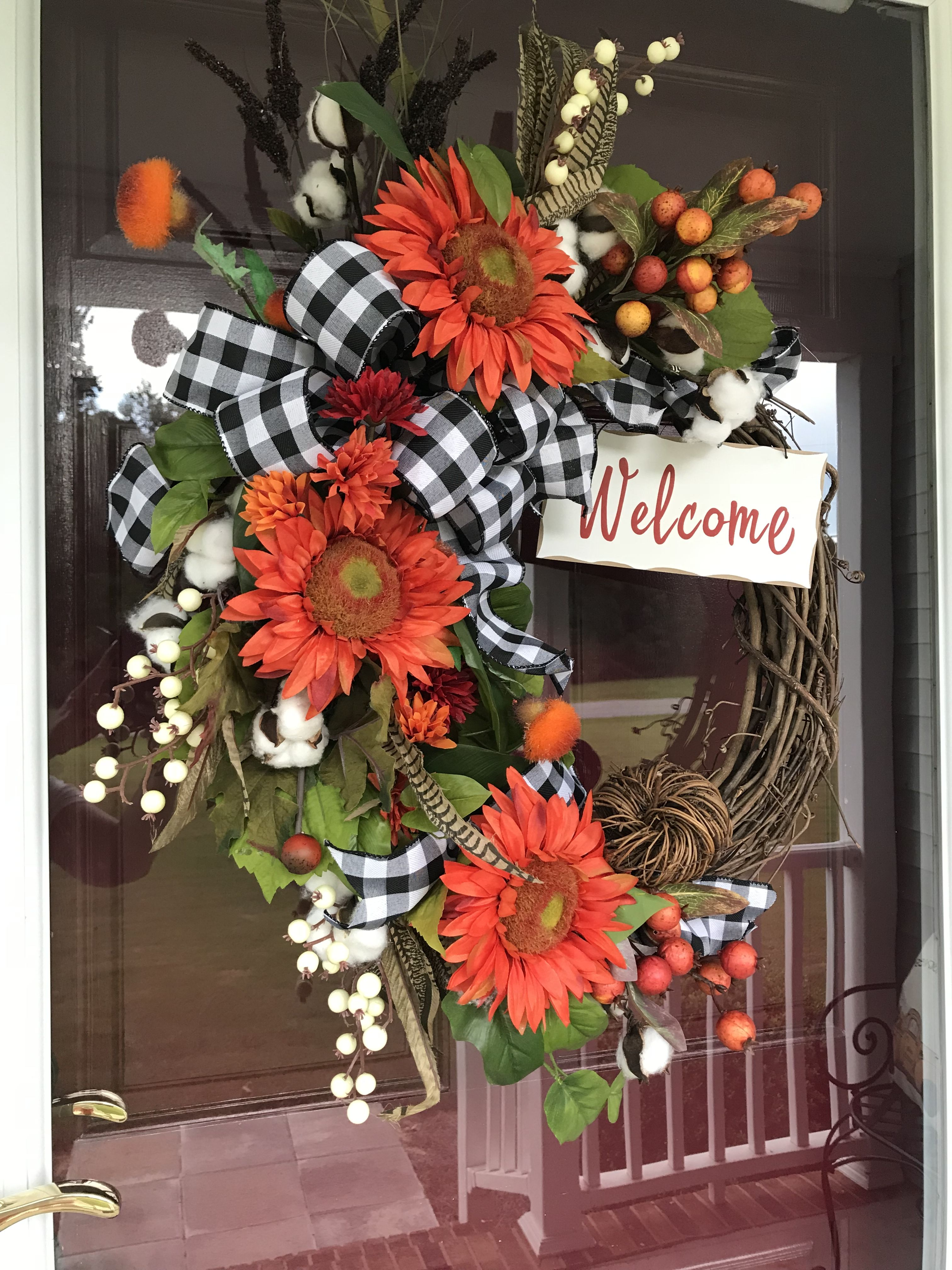 Fall Wreath, Orange Sunflowers, Black & White Buffalo Check Ribbon #fallwreaths