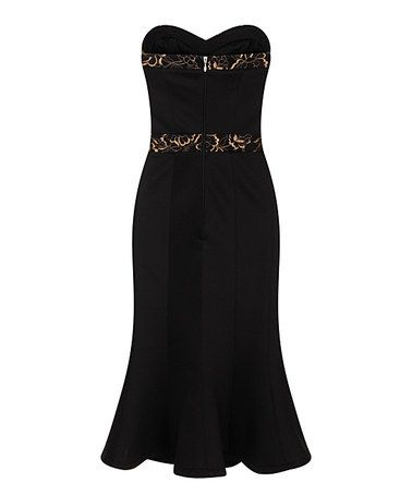 Love this Black Metallic-Trim Strapless Dress on #zulily! #zulilyfinds