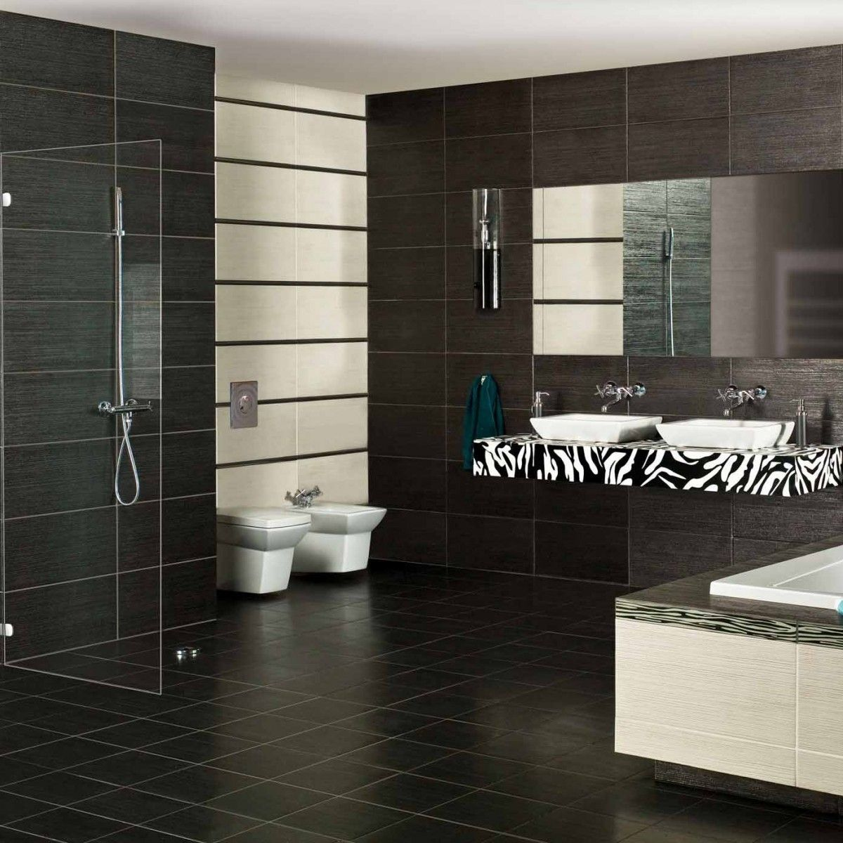 Wall Tile For Bathrooms: Metallic Black 600x300mm