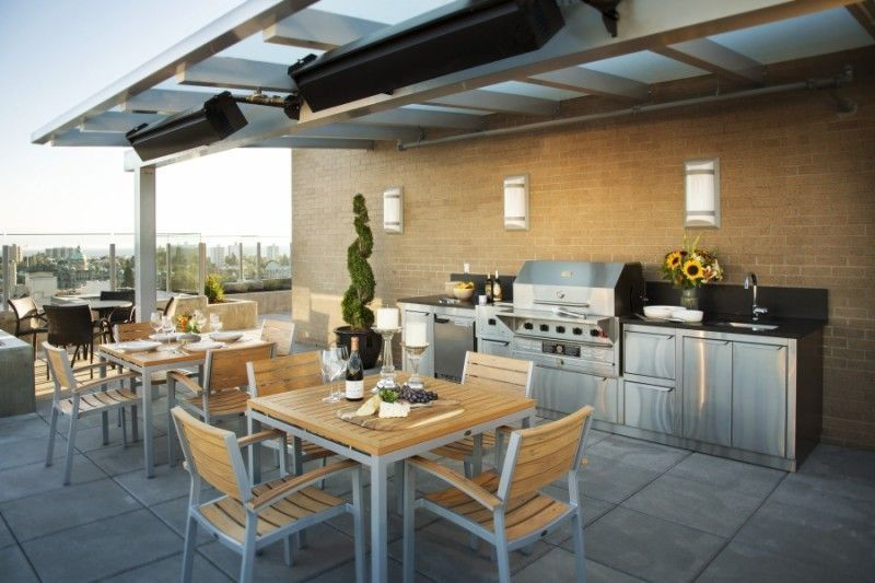 Check Out This Awesome Rooftop Kitchen With Matching Outdoor Furniture Outdoorkitchen Outdoorfurniture P Outdoor Appliances Outdoor Kitchen Condo Kitchen