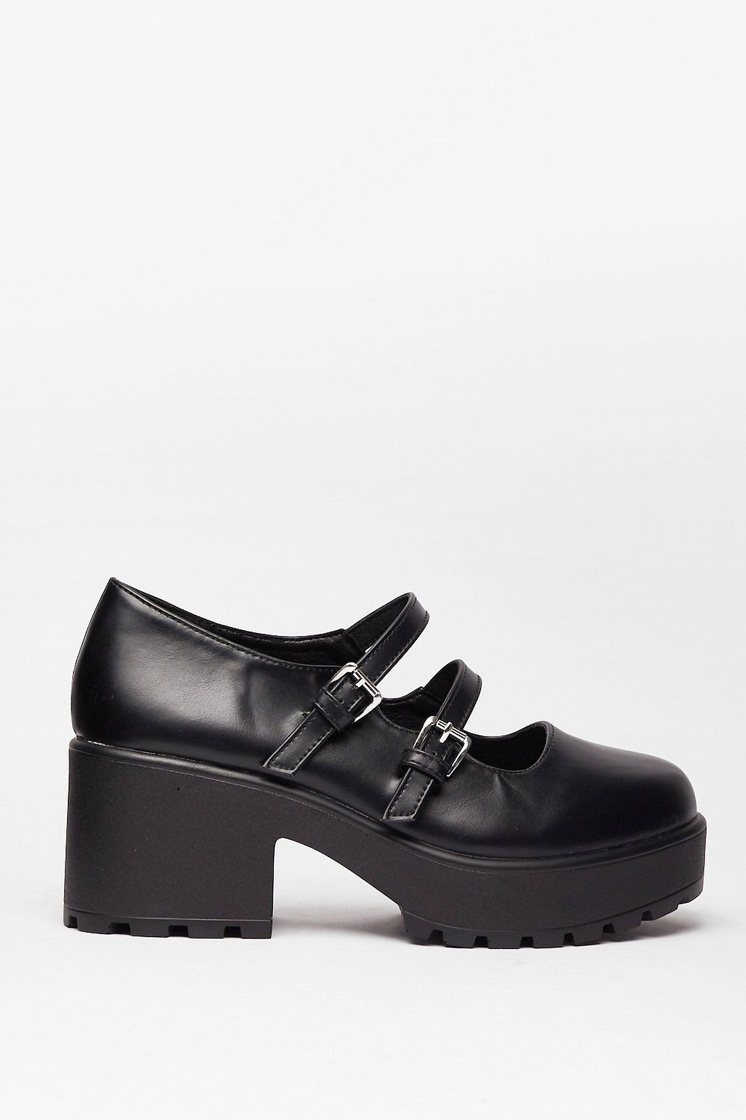 PU Double Strap Mary Janes | Nasty Gal