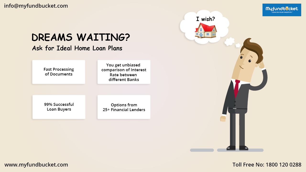 Dreams waiting? Ask for ideal home loan plans. Visit: https://www.myfundbucket.com/ Toll Free: 1800 1200 288 ‪#‎Digital‬ ‪#‎Finance‬ ‪#‎Loans‬ ‪#‎Online‬ ‪#‎Mumbai‬