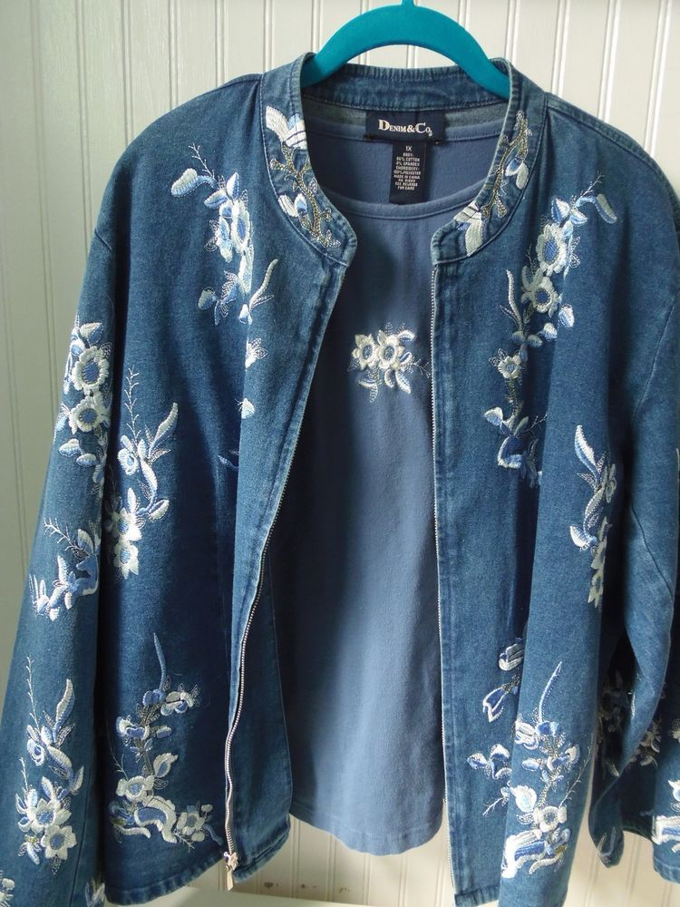 DENIM & CO STRETCHED DEMIM EMBROIEDERED JACKET AND T-SHIRT 1X #DenimCo