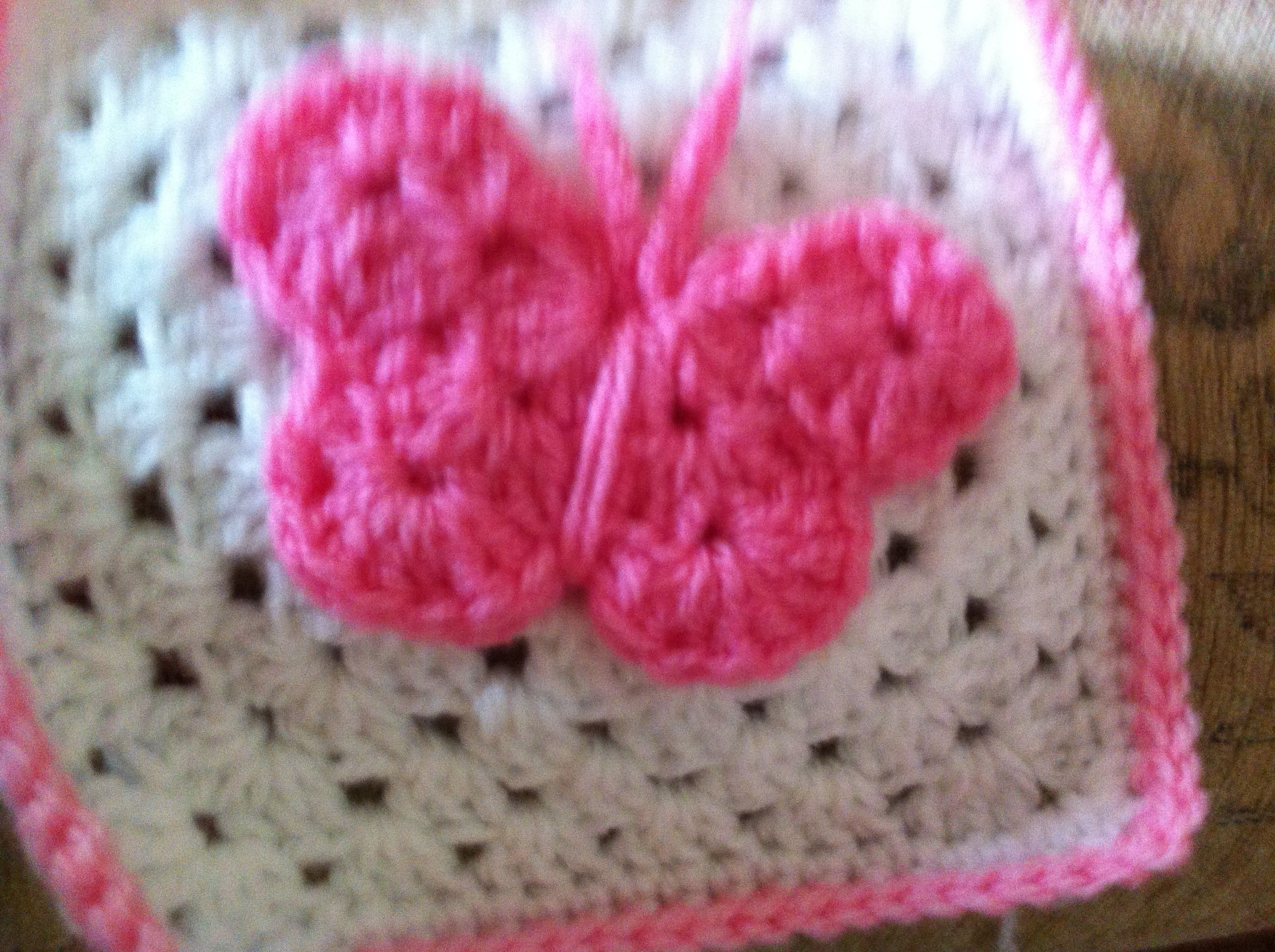 granny square with a butterfly Crochet Pinterest