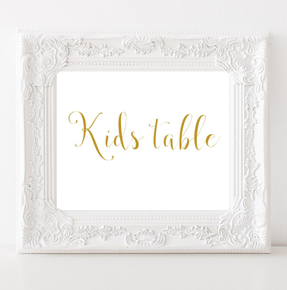 Wedding Decor Signs Stunning Kids Table Sign Gold Wedding Signs Gold Wedding Decor Signs Decorating Inspiration