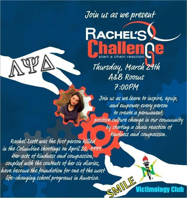 Flyer from a Rachel's Challenge event held by Alpha Chapter