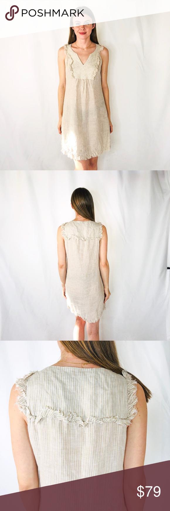 254c7ddbb13 Vineyard Vines Linen Striped Natural Mini Dress 6 Description  Easy spring  mini dress perfect for