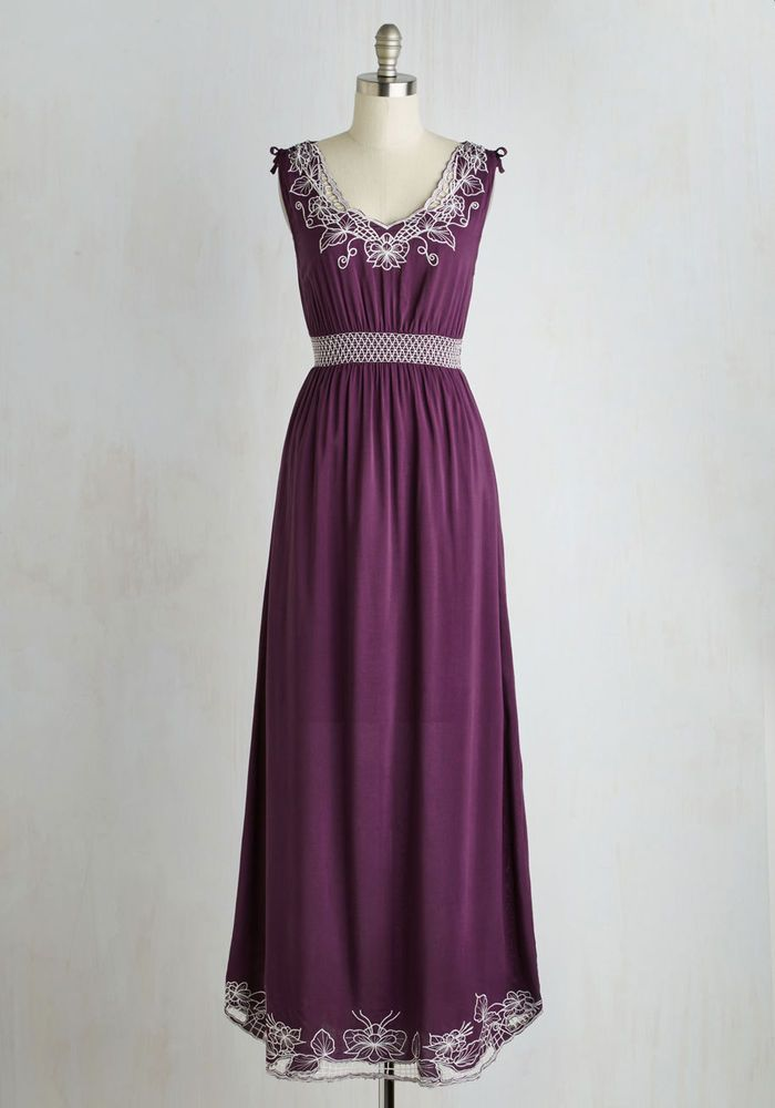 Sunny Girl Plum Purple Plus Size 4x Floral Embroidered Maxi Dress
