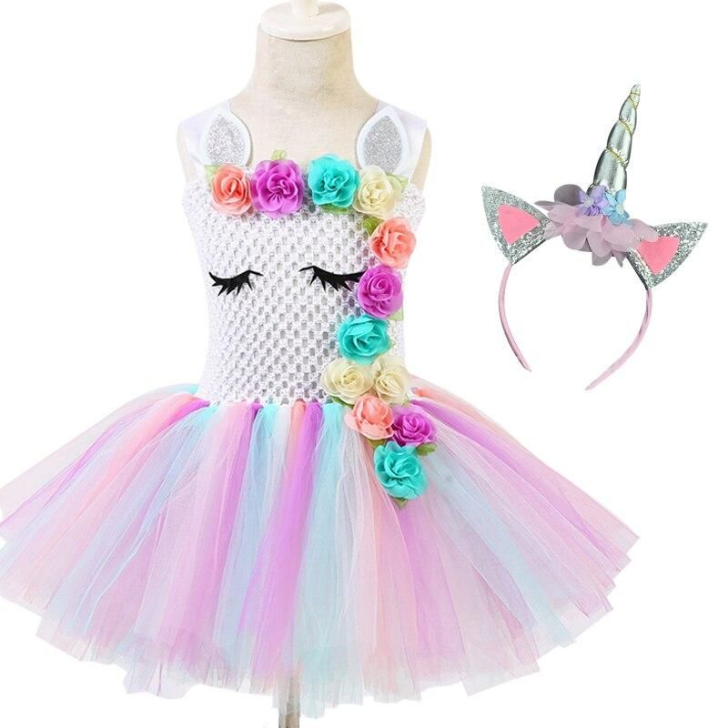 Unicorn Party Tutu Dress Princess Baby Girls Dresses For Girls Cosplay Flower Rainbow Birthday Dress Halloween Costume #babygirlpartydresses