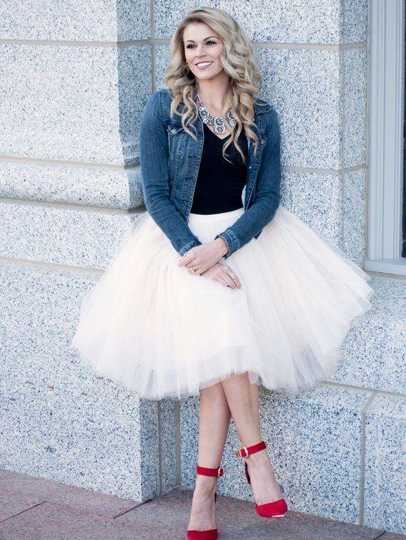 ed1cb07583 Clarisa - Champagne Tulle Skirt, Ivory Tulle Skirt, Puffy Princess Tutu, Midi  Tulle Skirt, Adult Tut