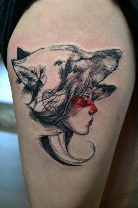 dc912f9e6 Princesse Mononoke | Tattoo | Anime tattoos, Princess mononoke tattoo, Wolf  tattoos