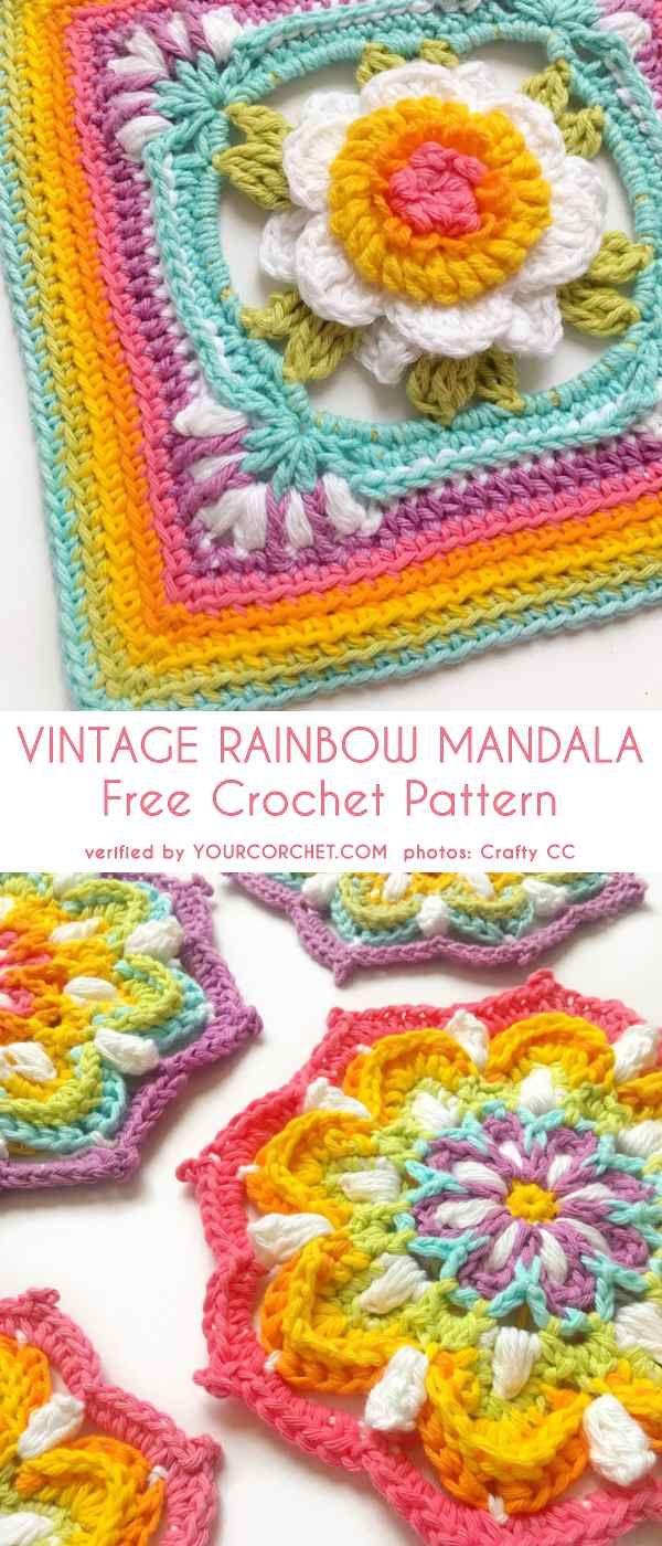 Vintage Rainbow Mandala Free Crochet Pattern #crochetmandalapattern