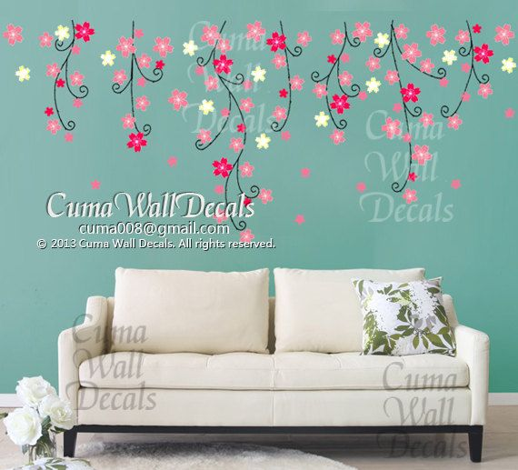 flower wall decal nursery pink flower vinyl wall decal tree nature