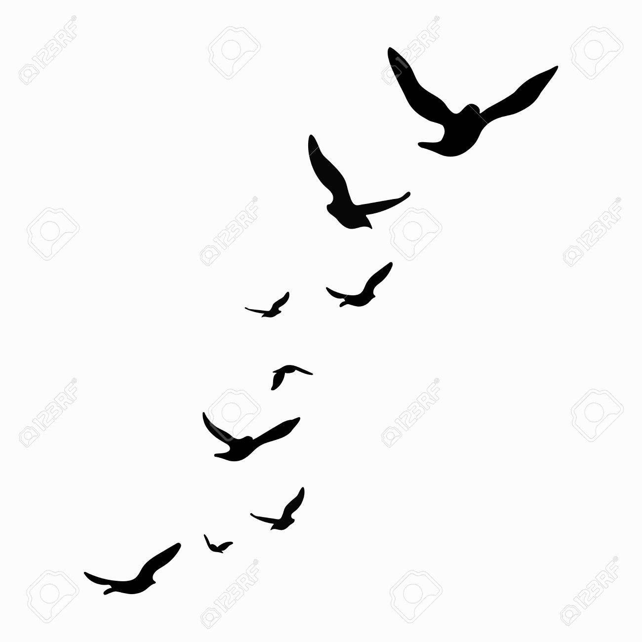 Silhouette Of A Flock Of Birds Black Contours Of Flying Birds Flying Bird Silhouette Bird Silhouette Art Bird Tattoos Arm