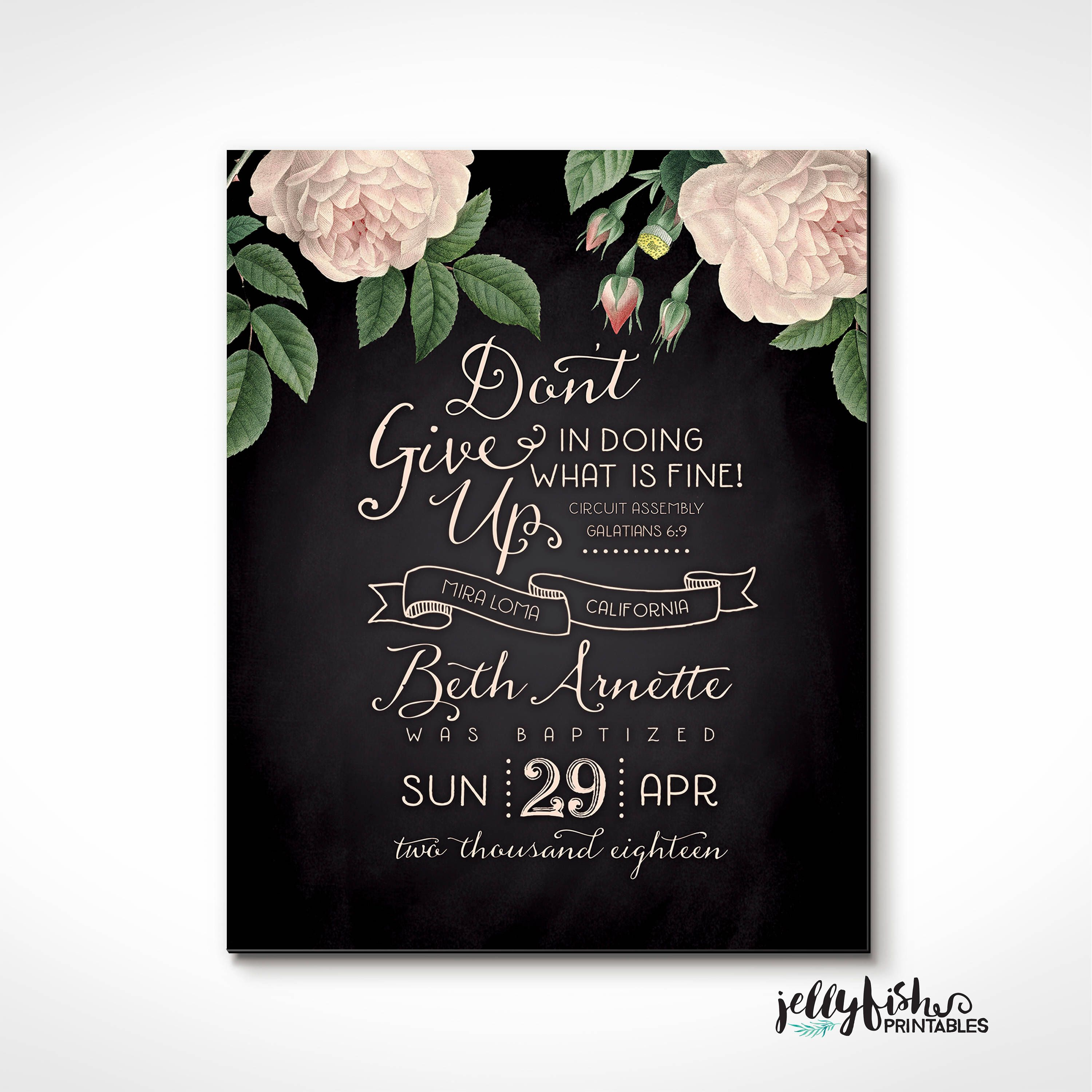 Jw Baptism Print Keepsake Current Assembly Theme Name Location Date Of Baptism Perfect T