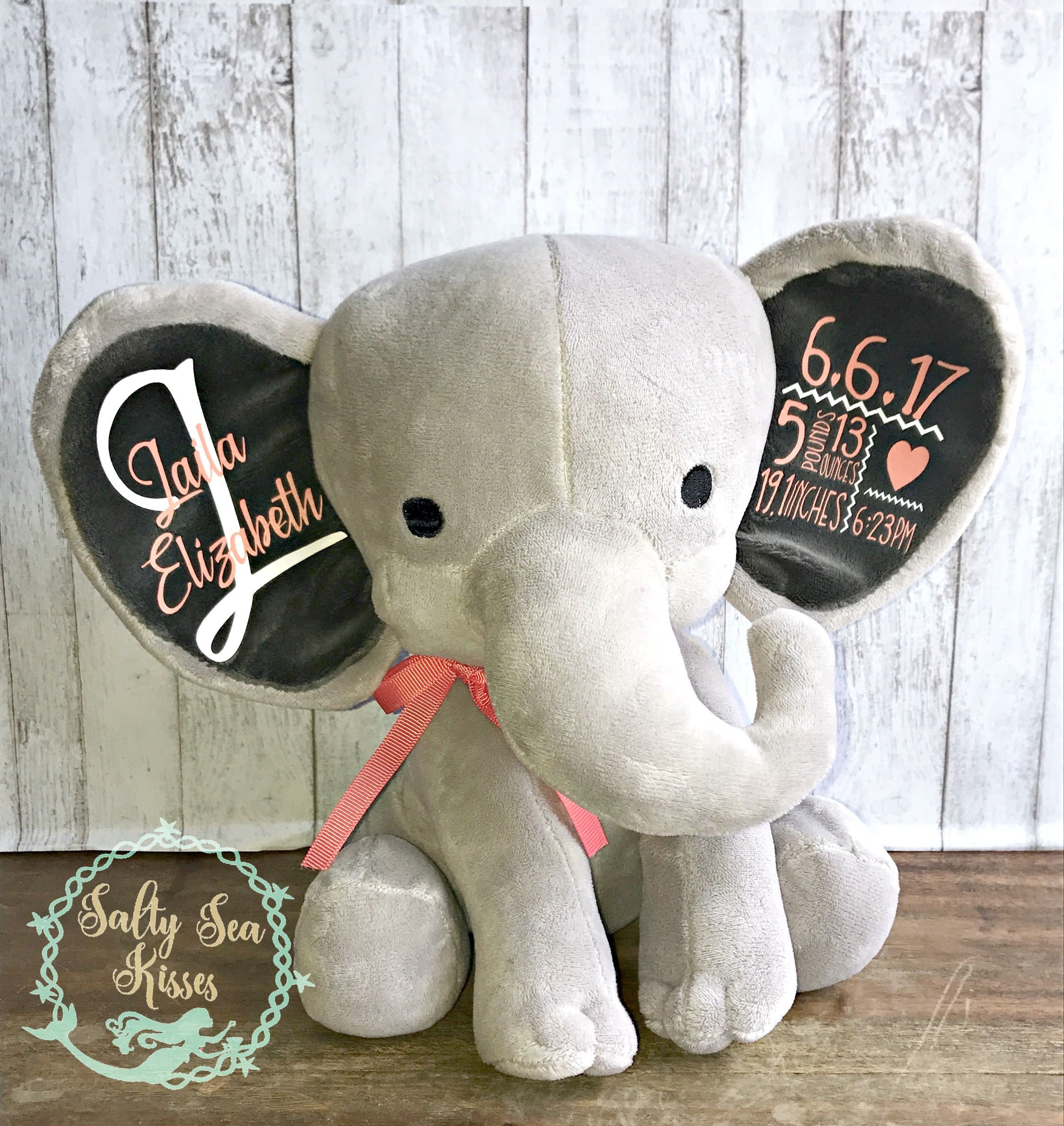 Personalized Baby birth stat stuffed elephant plush announcement keepsake