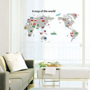 Easy Instant Decoration Wall Sticker Decal - World Map con Flags ...