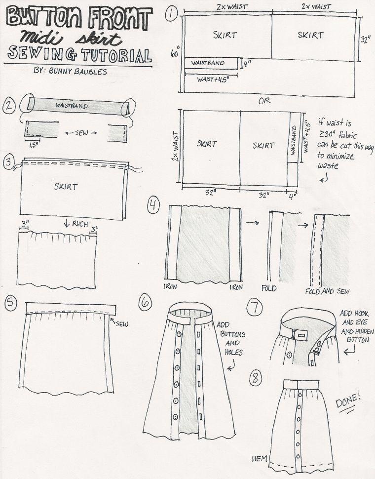 White Button Front Midi Skirt Sewing Tutorial