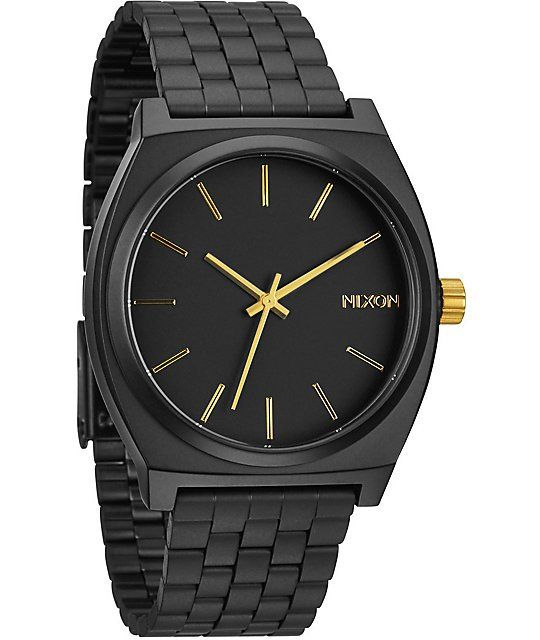 Nixon Time Teller Matte Black & Gold Analog Watch   Zumiez