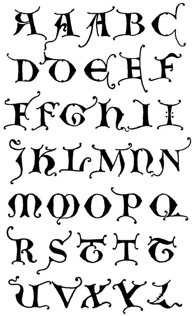 Gothic Letters A Z Unical Initials 1More Pins Like This One At FOSTERGINGER Pinterest