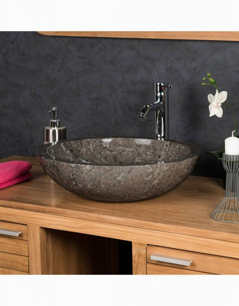Grey Full Polished Stone Vessel Sink 35 X 15cm In 2020 Stone Vessel Sinks Stone Bathroom Sink Bowl Sink