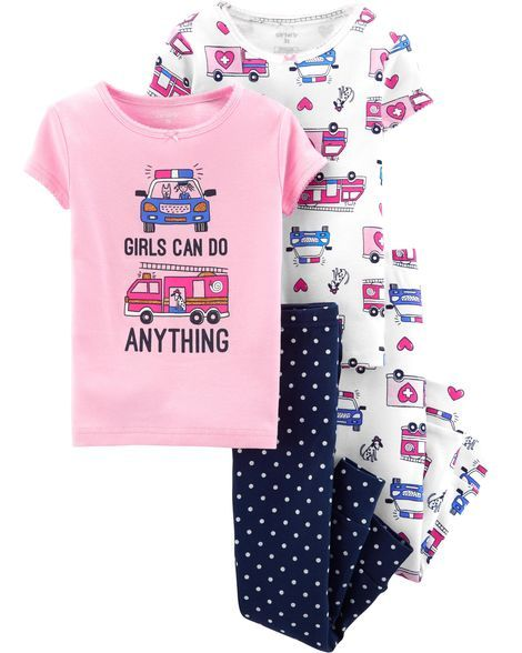 4-Piece Girls Can Do Anything Snug Fit Cotton PJs in 2019  35bf02e59