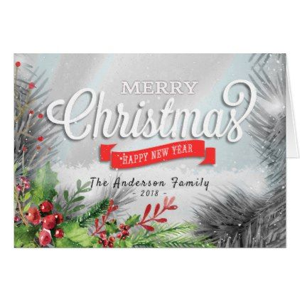 Merry Christmas & Happy New Year Holiday Greetings Card - New Year\'s ...