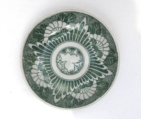 1800s Japanese Plate. Green Floral Diamond Design by FurugiStar