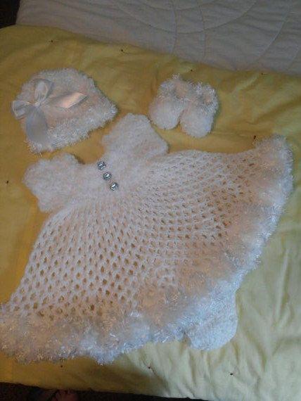 Pure white crochet snow baby dress layette
