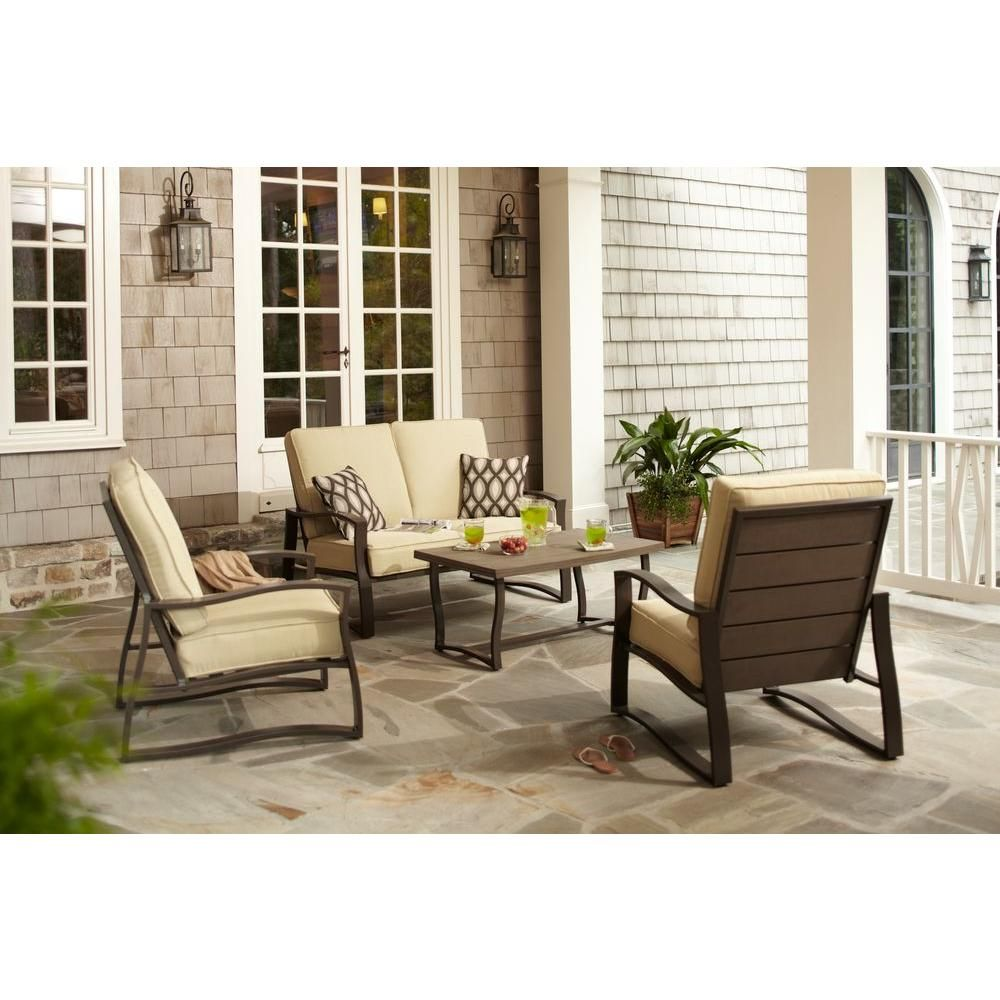 Hampton Bay Ridgefield 4-Piece Patio Conversation Set ... on Living Spaces Patio Set id=68713