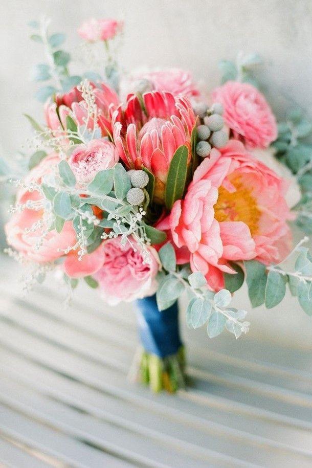 Pink peonies & proteas with eucalyptus